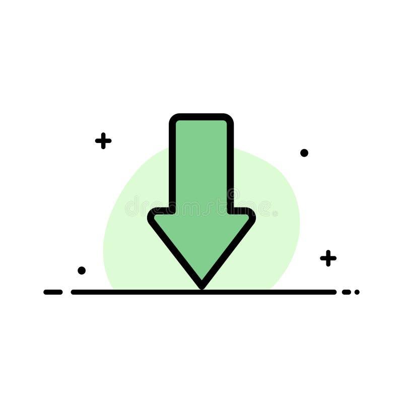 Pijl, Pijlen, onderaan, Malplaatje Download van de Bedrijfs het Vlakke Lijn Gevulde Pictogram Vectorbanner stock illustratie