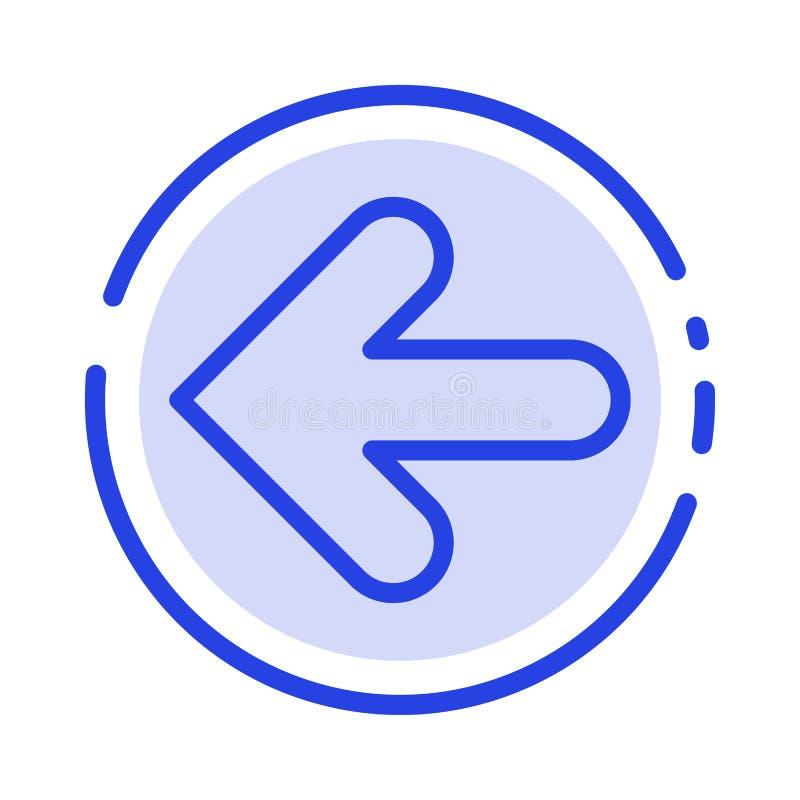 Pijl, Pijlen, Rug, de Lijnpictogram van de Punt Achter Blauw Gestippelde Lijn vector illustratie