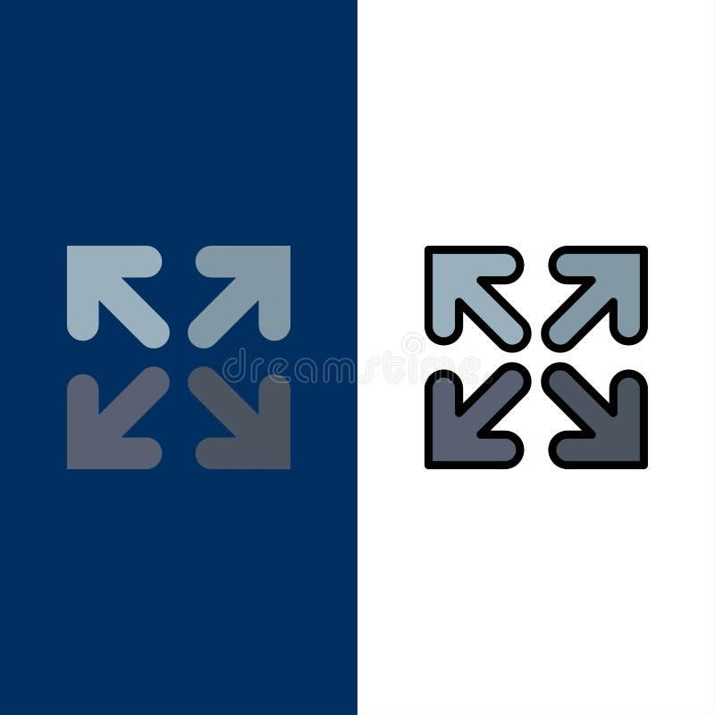Pijl, Richting, Bewegingspictogrammen Vlak en Lijn vulde Pictogram Vastgestelde Vector Blauwe Achtergrond stock illustratie