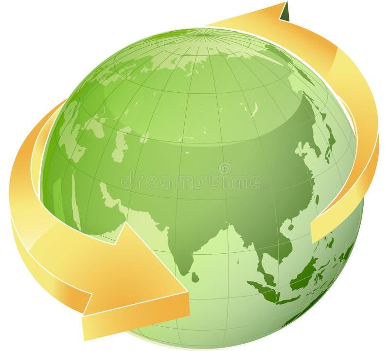 Pijl rond de bol van de Wereld stock illustratie