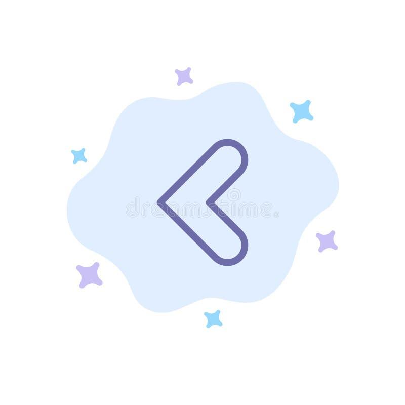 Pijl, Rug, Achterwaarts, Verlaten Blauw Pictogram op Abstracte Wolkenachtergrond stock illustratie