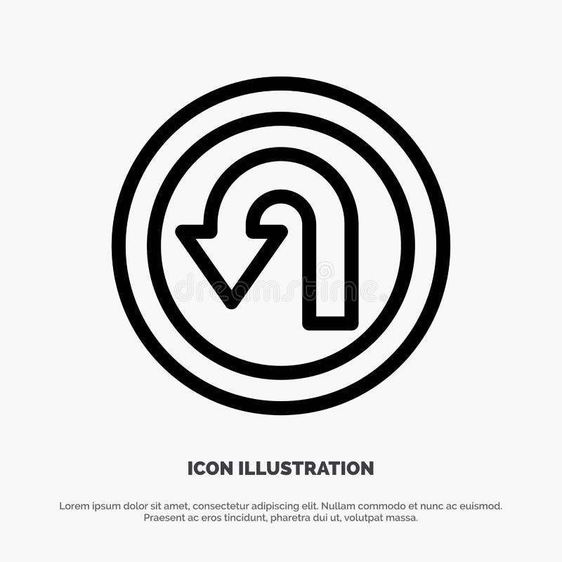 Pijl, Rug, Navigatie, het Pictogramvector van de Manierlijn vector illustratie