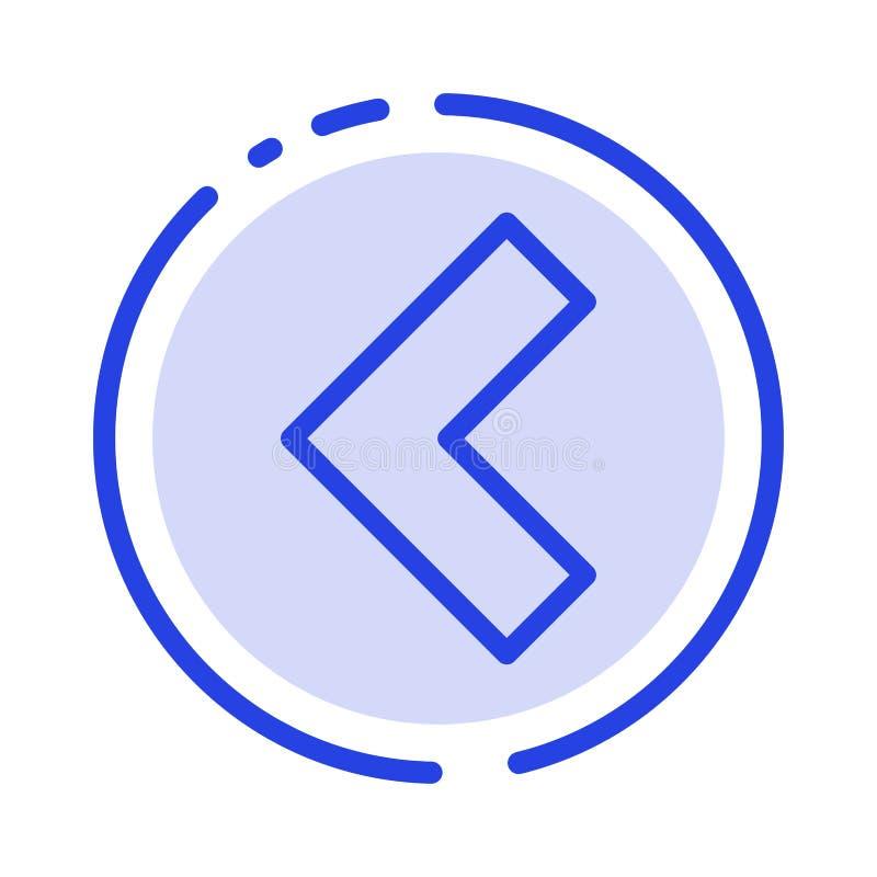 Pijl, Rug, Verlaten het Blauwe Pictogram van de Gestippelde Lijnlijn stock illustratie