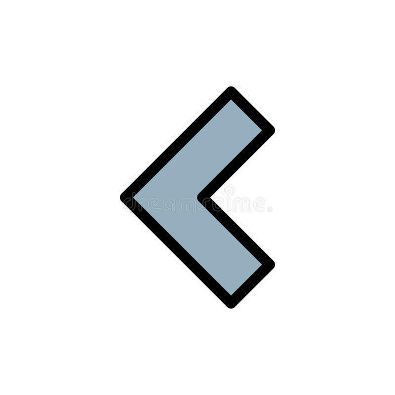 Pijl, Rug, Verlaten Vlak Kleurenpictogram Het vectormalplaatje van de pictogrambanner royalty-vrije illustratie