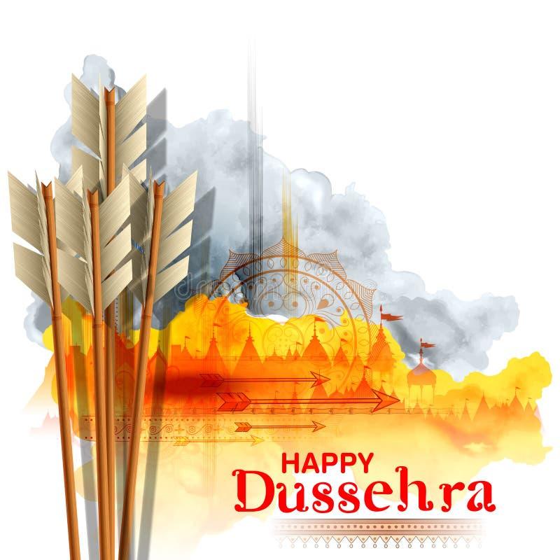 Pijl van Rama in Gelukkig Dussehra-festival van de achtergrond van India vector illustratie