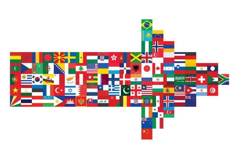 Pijl van vlagpictogrammen dat wordt gemaakt vector illustratie