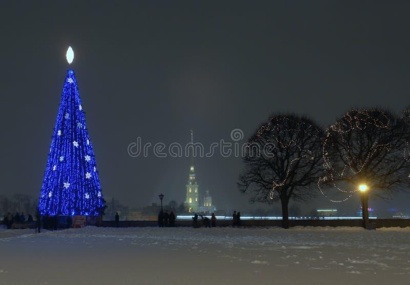 Pijl van wasilevsky eilanden in nieuw jaar stock foto's