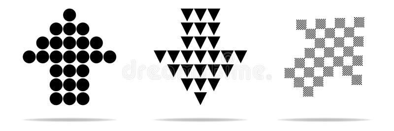 Pijl vectorinzameling Zwarte reeks van pijlpictogrammen, achter, volgende, vorig programmapictogram of Webontwerp Moderne eenvoud royalty-vrije illustratie