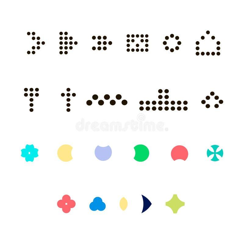 Pijl vectorpictogram en punteninzameling op witte achtergrond royalty-vrije illustratie