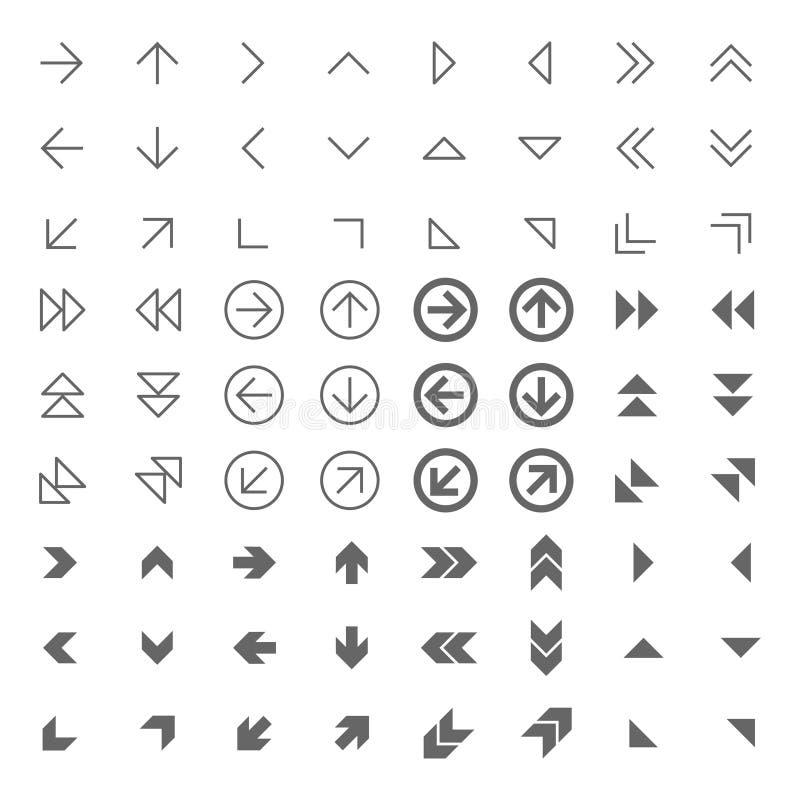 Pijl verwante Webpictogrammen geplaatst op wit grijs vector illustratie