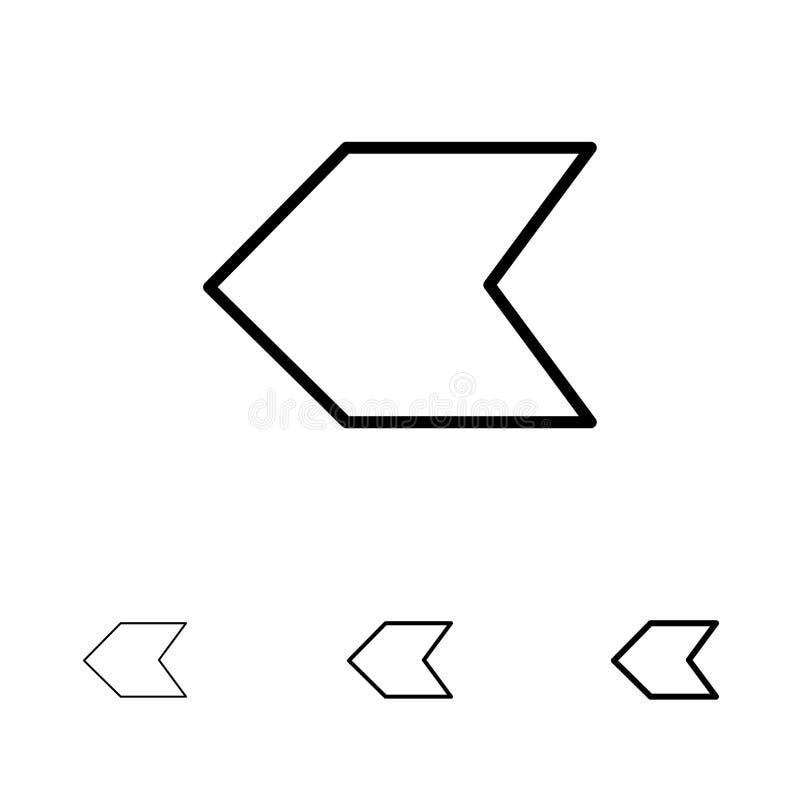 Pijl, Wijzer, Verlaten de Gewaagde en dunne zwarte reeks van het lijnpictogram stock illustratie