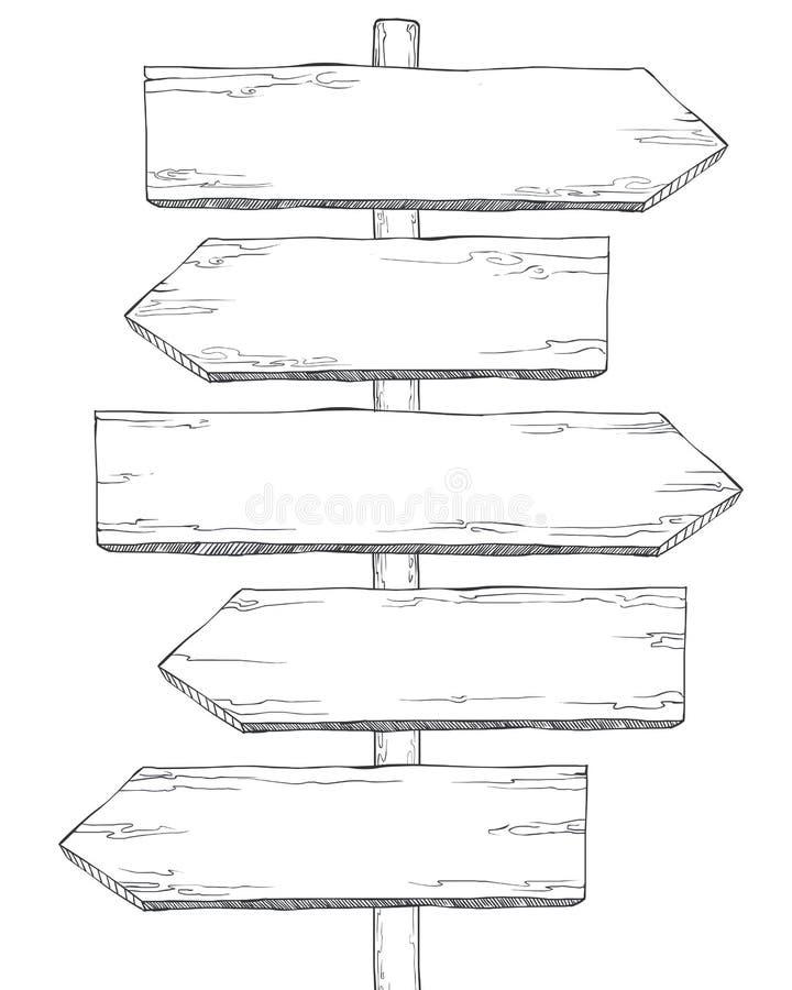Pijl-wijzer verschillende richtingen (land, stad) Leeg Malplaatje stock illustratie