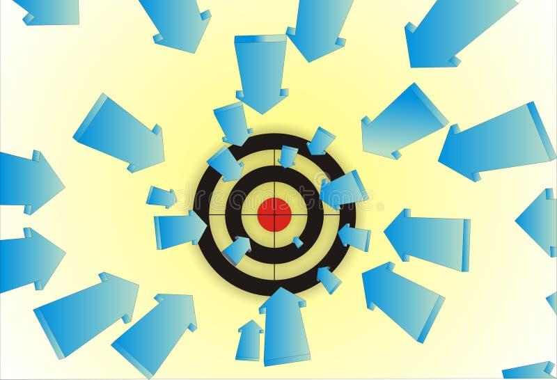 Pijlen aan doel vector illustratie