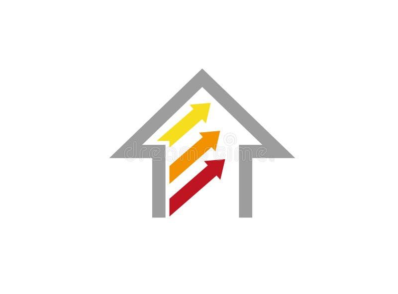 Pijlen binnen huis en huisembleem royalty-vrije illustratie