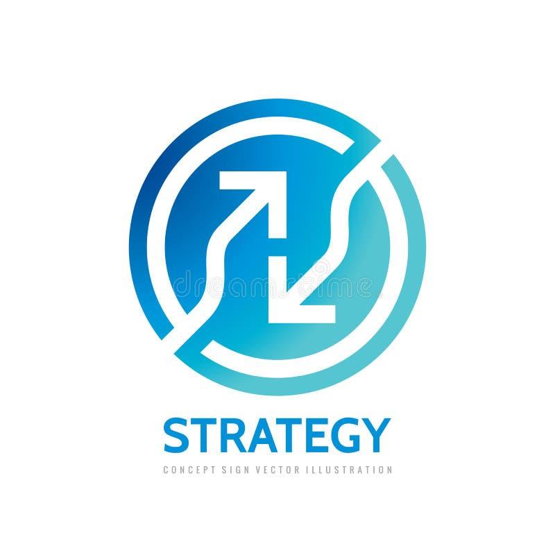 Pijlen in cirkel - vector het conceptenillustratie van het embleemmalplaatje Abstract geometrisch bedrijfsstrategieteken Het pict royalty-vrije illustratie