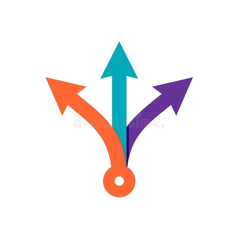Pijlen de met drie richtingen van de richtingskleur royalty-vrije illustratie