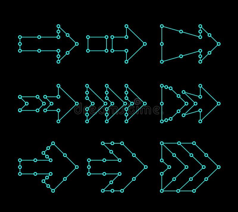 Pijlen in de vorm van lijnen, verbonden punten HUD-interfaceontwerp vector illustratie