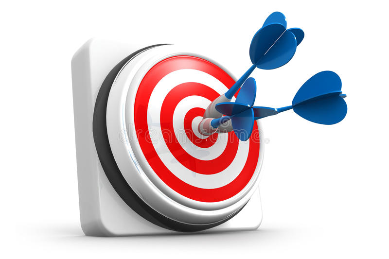 Pijlen die het centrum van doel raken stock illustratie