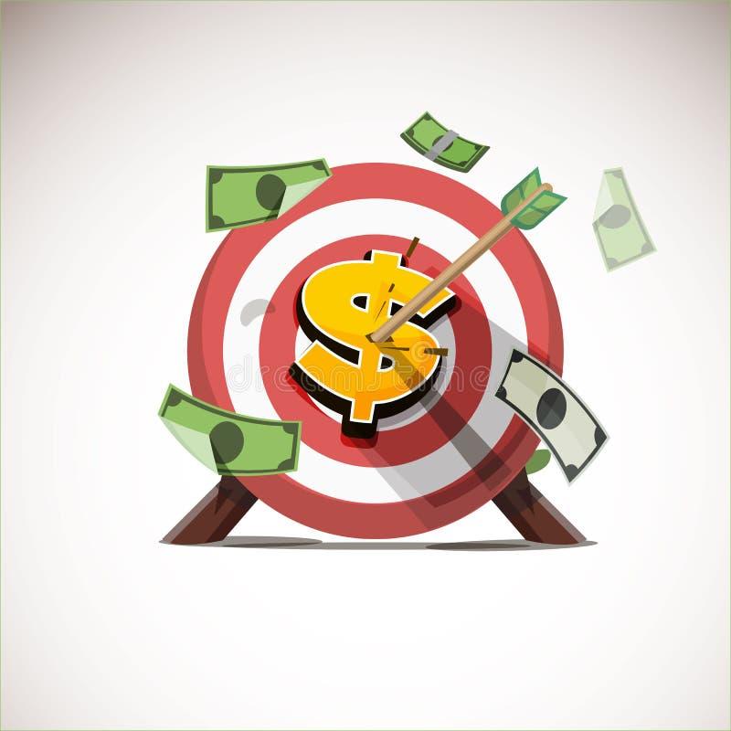 Pijlen die het centrum van geldpictogram raken - vector royalty-vrije illustratie