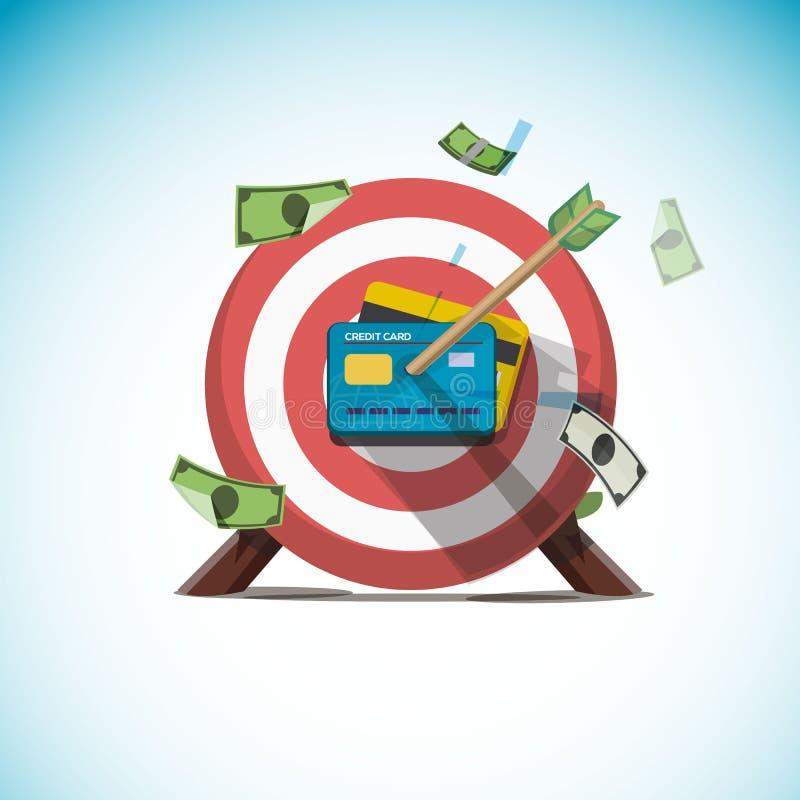 Pijlen die op centrum van creditcard raken - vector vector illustratie