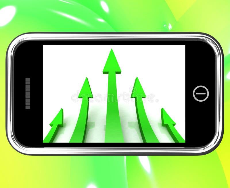 Pijlen die op Smartphone benadrukken vector illustratie