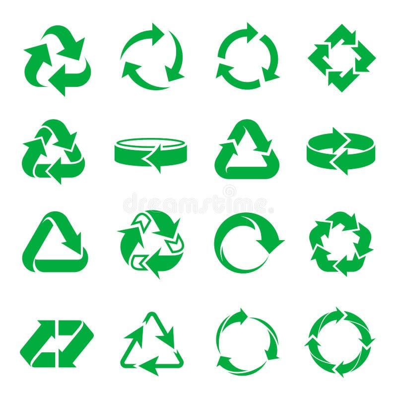 Pijlen die pictogrammen recycleren royalty-vrije illustratie