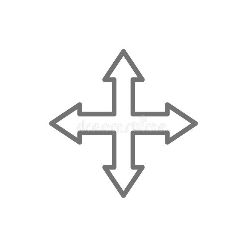 Pijlen die in verschillende richtingen, vier manier, het pictogram van de navigatielijn wijzen royalty-vrije illustratie