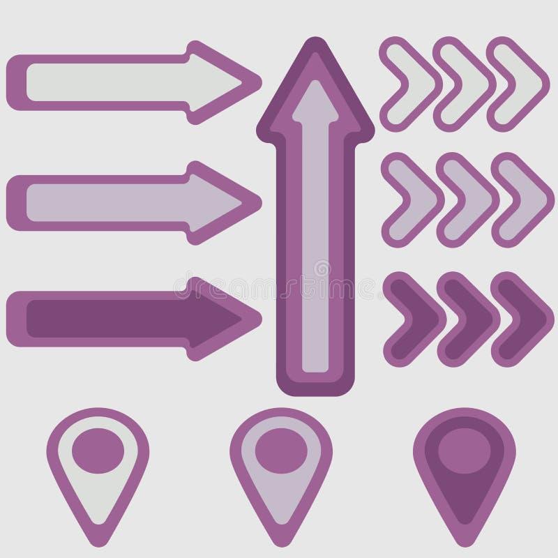 Pijlen en wijzers in purpere tinten royalty-vrije illustratie