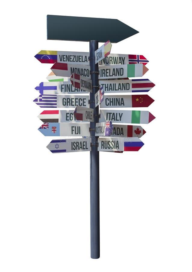 Pijlen met de richting en het teken van het land royalty-vrije stock afbeeldingen