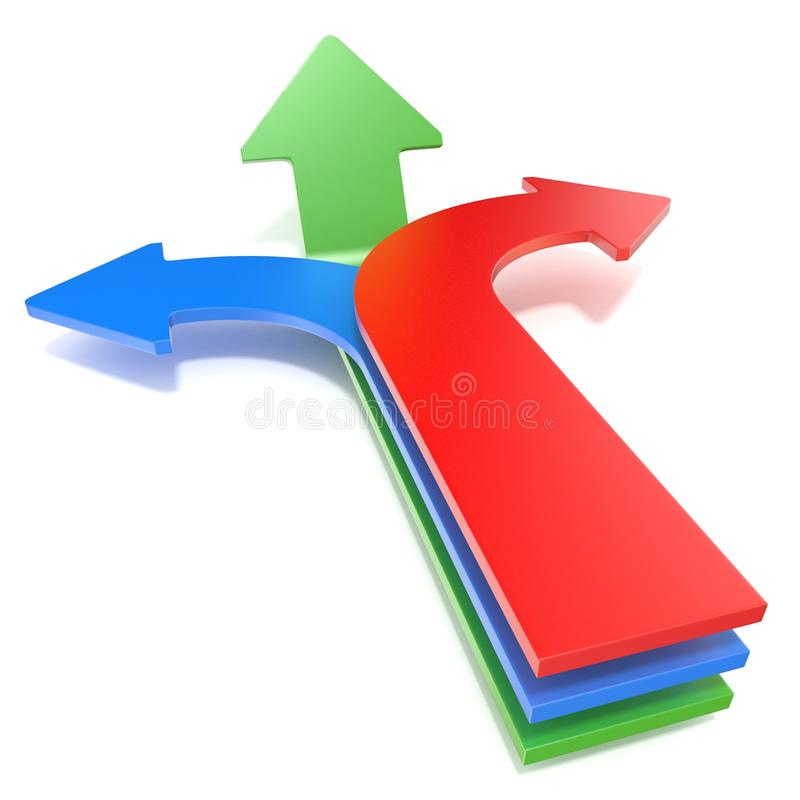 Pijlen met drie richtingen, die drie verschillende richtingen tonen Blauw linker, rood juist en voorwaarts groen pijlenconcept 3d vector illustratie