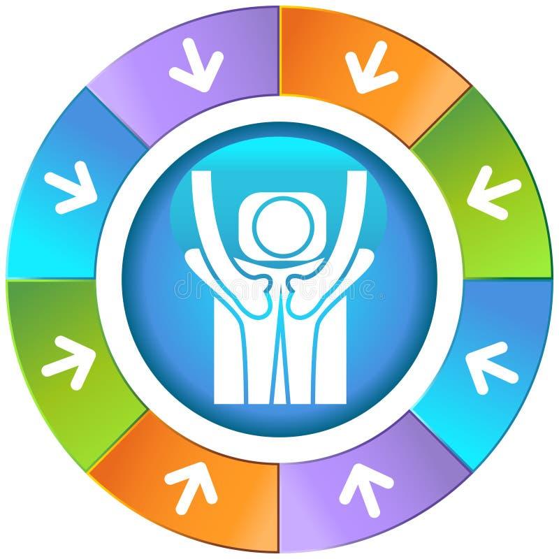 Pijlen met Wiel - Massage vector illustratie