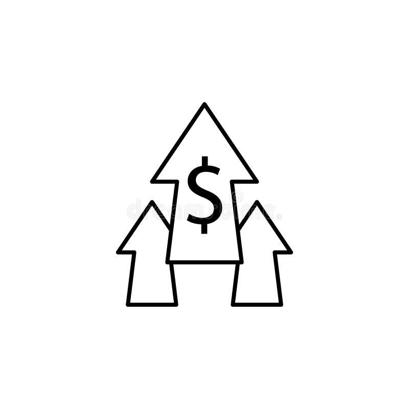 Pijlen, omhoog, dollarpictogram Element van financiënillustratie Tekens en symbolen het pictogram kan voor Web, embleem, mobiele  stock illustratie