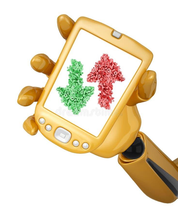 Pijlen op het scherm van een gouden mobiele telefoon vector illustratie