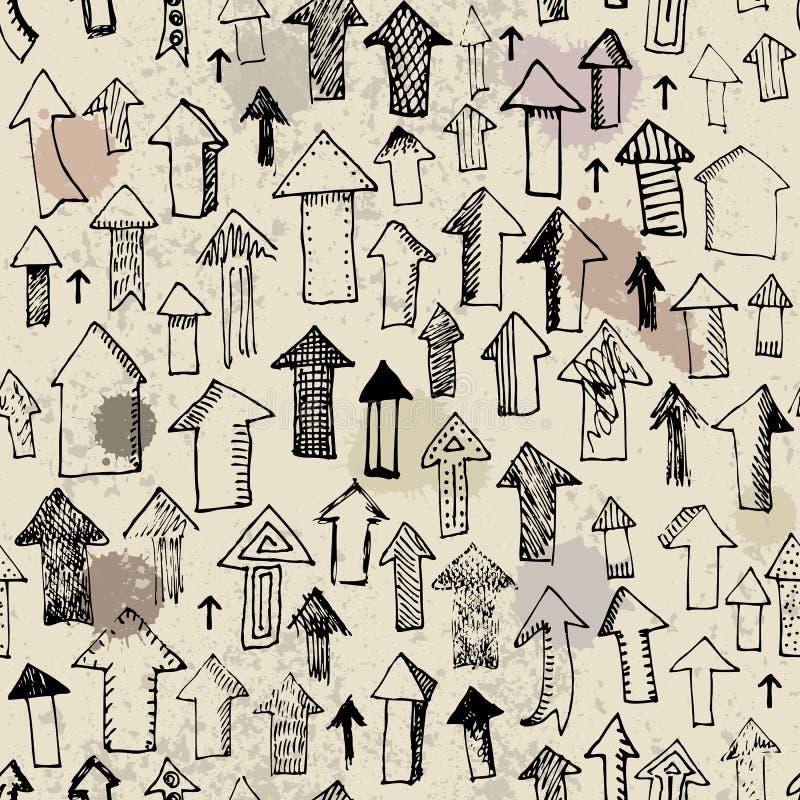Pijlen op het vuile document stock illustratie