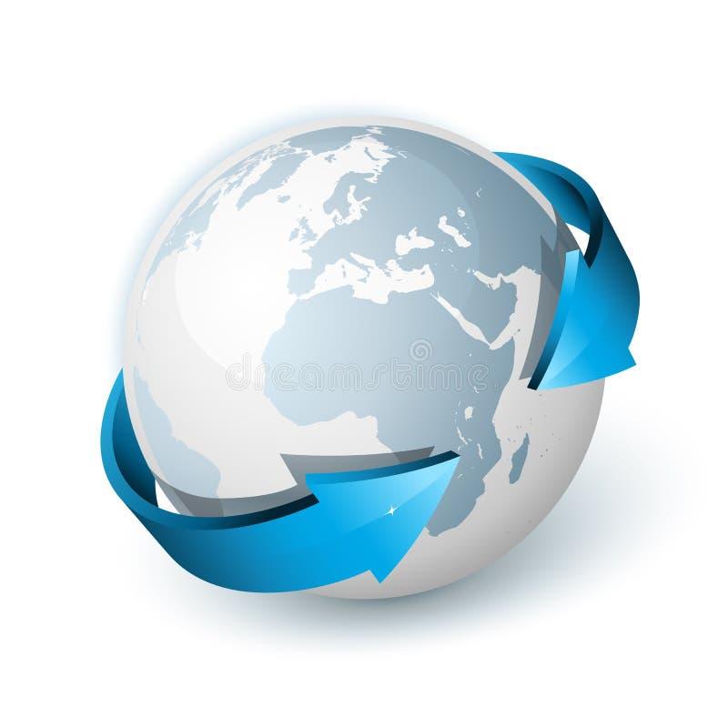 Pijlen rond de bol van de Wereld stock illustratie
