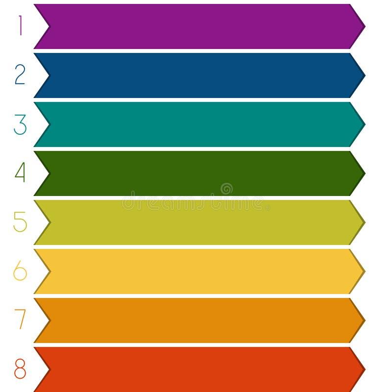 8 pijlen van kleurenstroken stock illustratie