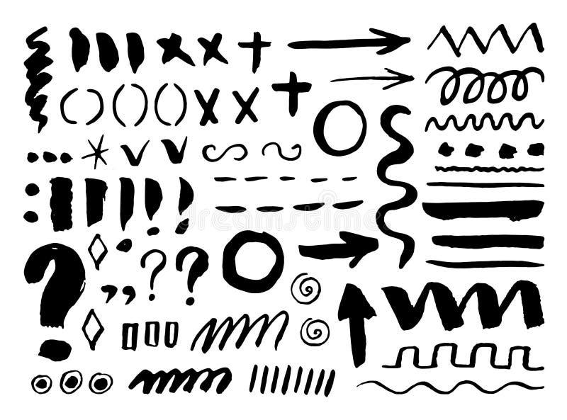 Pijlen, verdelers en grenzen, elementenhand getrokken vastgestelde vectorillustratie vector illustratie