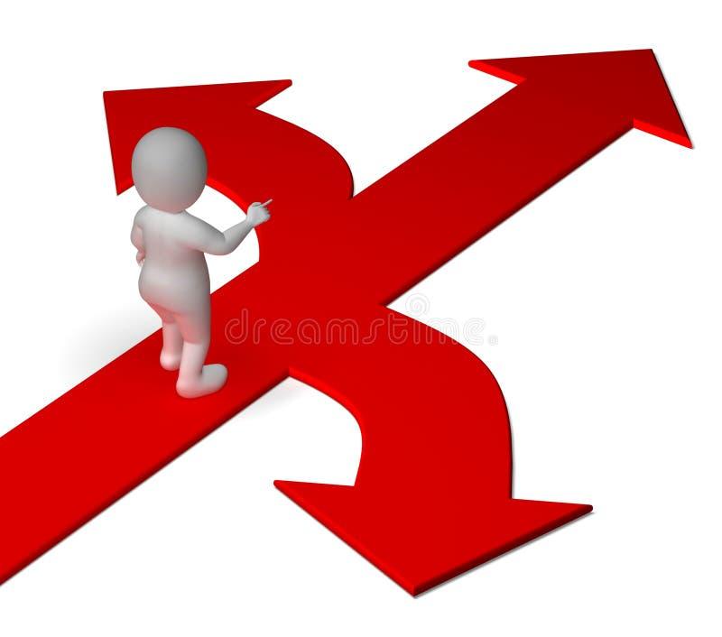 Pijlenkeus die Opties Alternatieven of het Beslissen toont stock illustratie