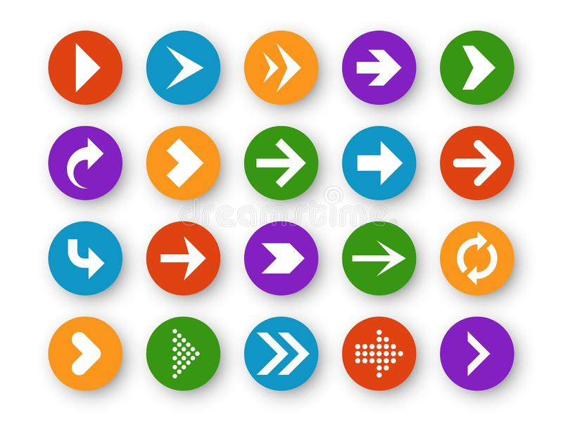 Pijlenknoop Het pijlpictogram steunt omhoog daarna onderaan de linkerinterface van de de navigatiecurseur van het websitespel upl stock illustratie