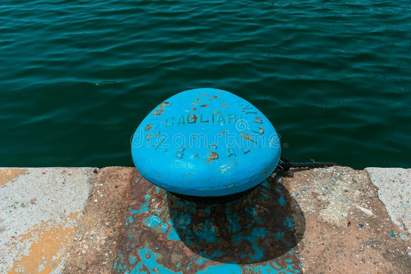 Pijler in de Haven van Cagliari royalty-vrije stock foto's