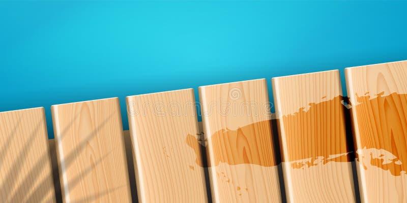 Pijler of dok op zee of oceaankust stock illustratie