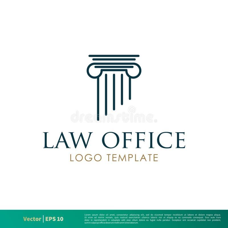 Pijler het Grieks, het Bureau van de Kolomwet, Advocatenkantoor, Procureur Icon Vector Logo Template Illustration Design Vectorep vector illustratie