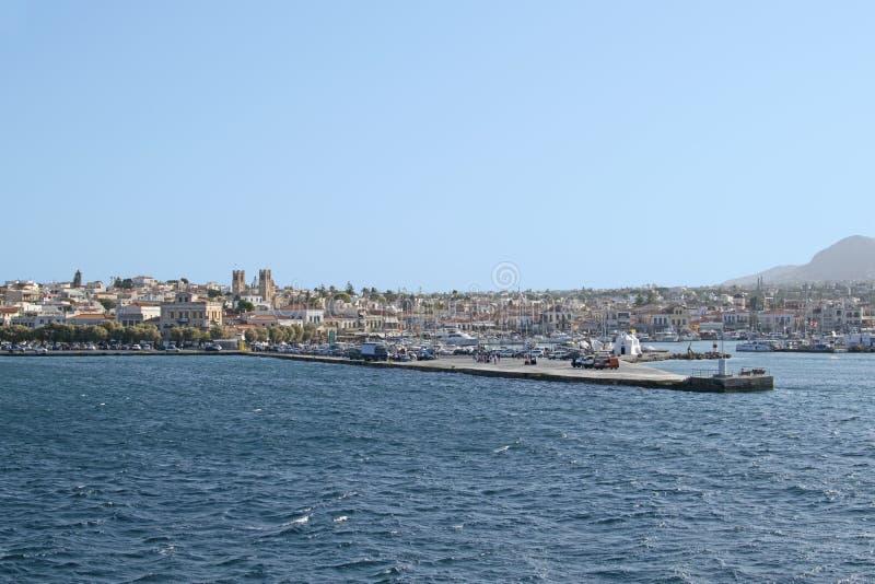 Pijler in het Middellandse-Zeegebied, Aegina-eiland, Griekenland royalty-vrije stock foto's