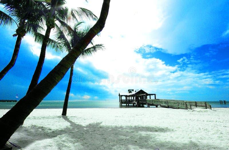 Pijler - het strand van Key West stock afbeeldingen