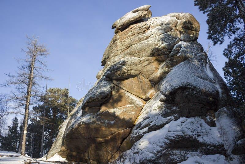 Pijler Lion Gate in de winter stock foto's