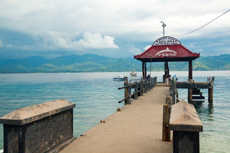 Pijler op Gili Air-eiland stock foto's