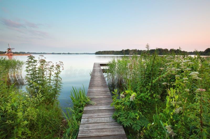 Pijler op grote meer en wildflowers stock foto's