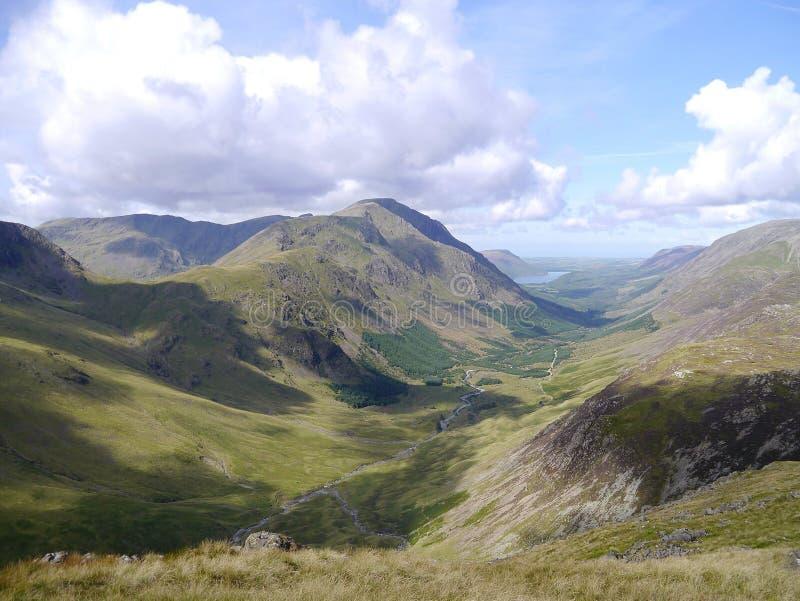 Pijler van Brin Crag-gebied, Meerdistrict wordt gezien dat stock fotografie