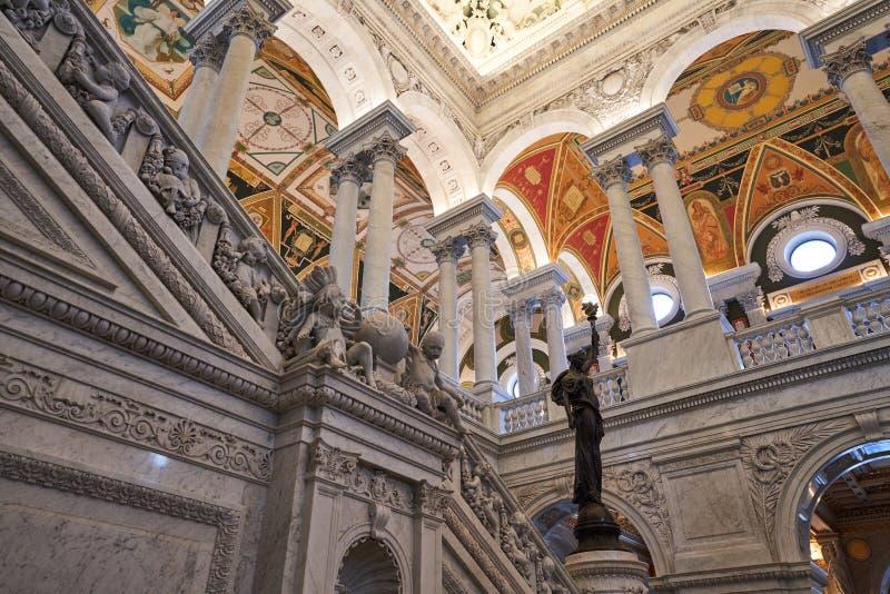 Pijlers en Marmeren Trap bij Bibliotheek van Congres royalty-vrije stock afbeelding