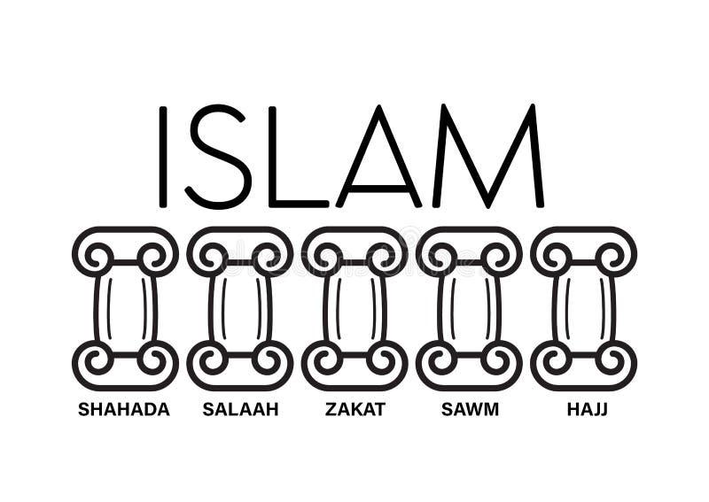 5 pijlers van Islam Vector van de jonge geitjes de onderwijsillustratie onder pijlerwoorden hajj, geloof, gebed, bedevaart, het v royalty-vrije illustratie